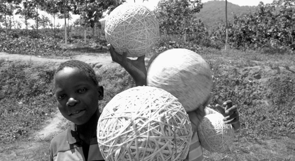 Boys in a Malawi rubber plantation.