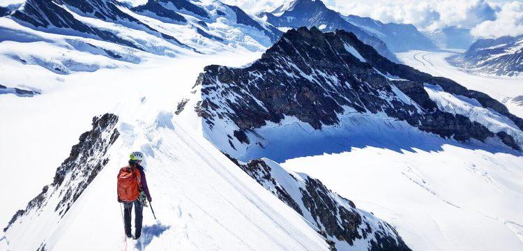Descending the Monch in Switzerland via the spectacular Southeast Ridge.
