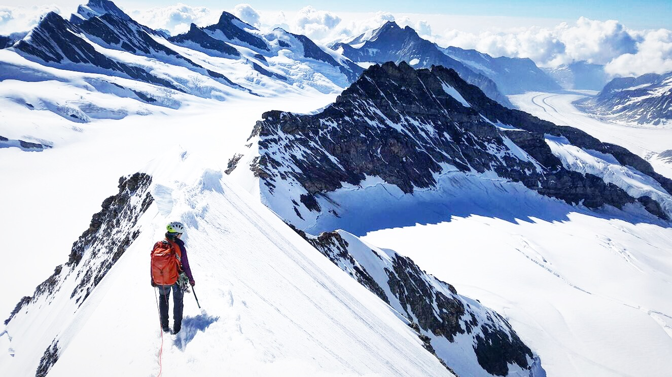 Fast and light in the mountains, whilst on an alpine route, the Monch, Switzerland via the spectacular Southeast Ridge.