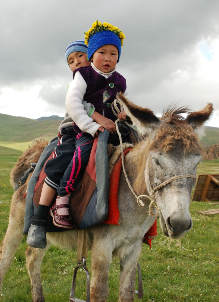Children on donkey, Song Kul, Kyrgyzstan