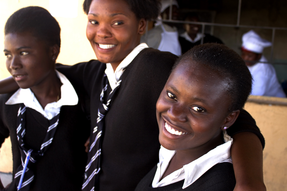 Girls at a secondary school in Ndola, Zambia